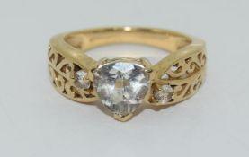 9ct gold ladies antique set Topaz ring size N