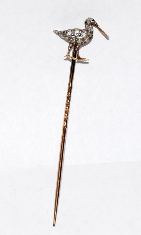 Antique gold and old cut diamond stick pin in the form of a Curlew bird - Image 3 of 7