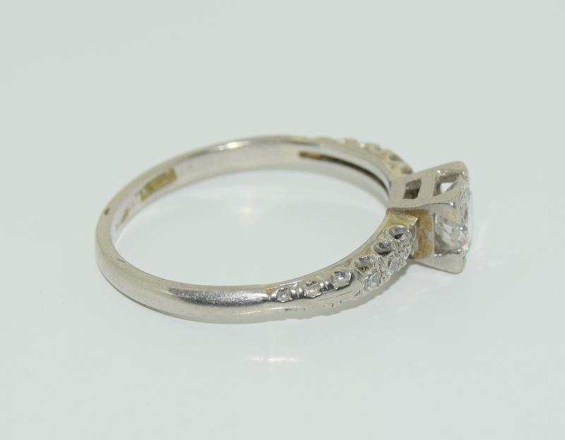 Ladies Platinum and Diamond Solitaire ring - 0.65. Size M. - Image 2 of 6