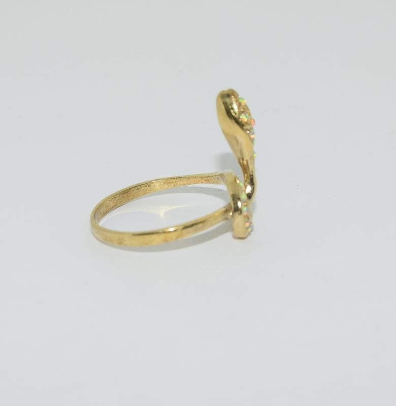 9ct Gold On Silver Opaline Snake ring. - Image 2 of 6