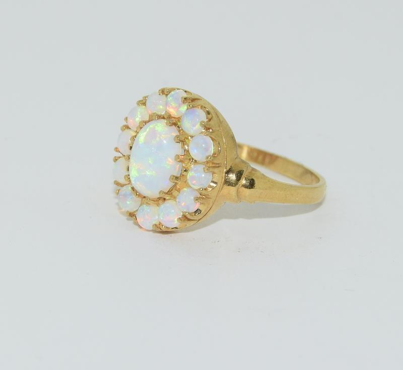 9ct Gold On Silver Opaline Cluster ring. - Image 4 of 6