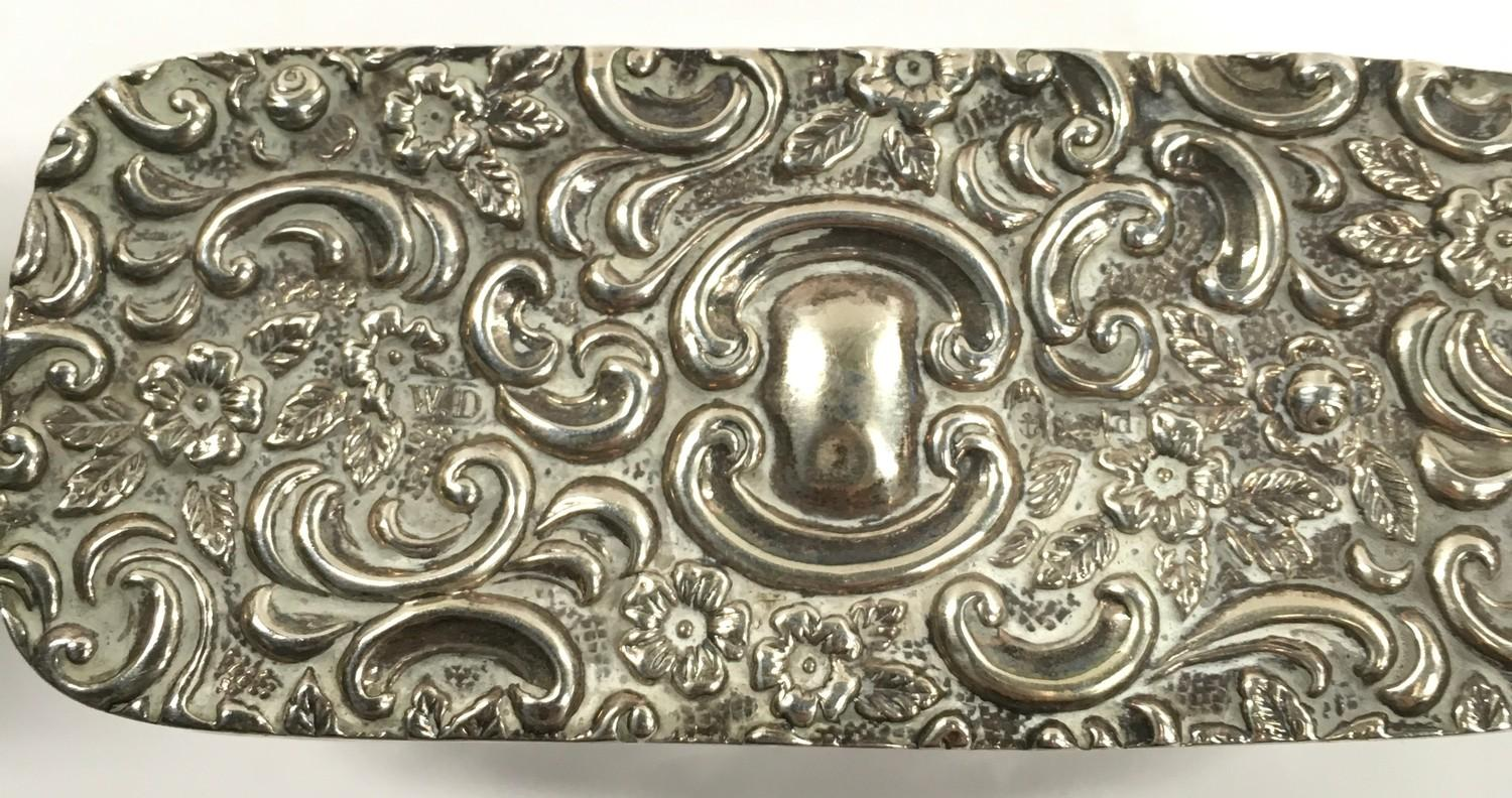Silver Topped Ring Box - Hallmarked Birmingham 1903 and a Small Silver Candlestick. - Image 3 of 3
