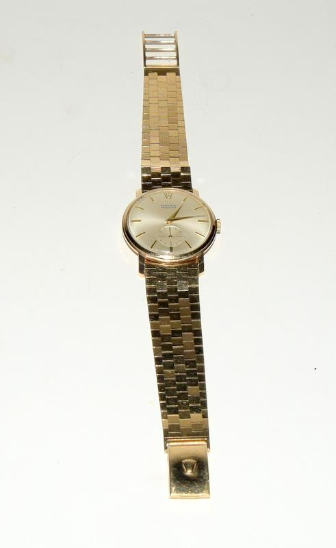 9ct Gold Rolex Precision wristwatch on original Rolex Gold bracelet.