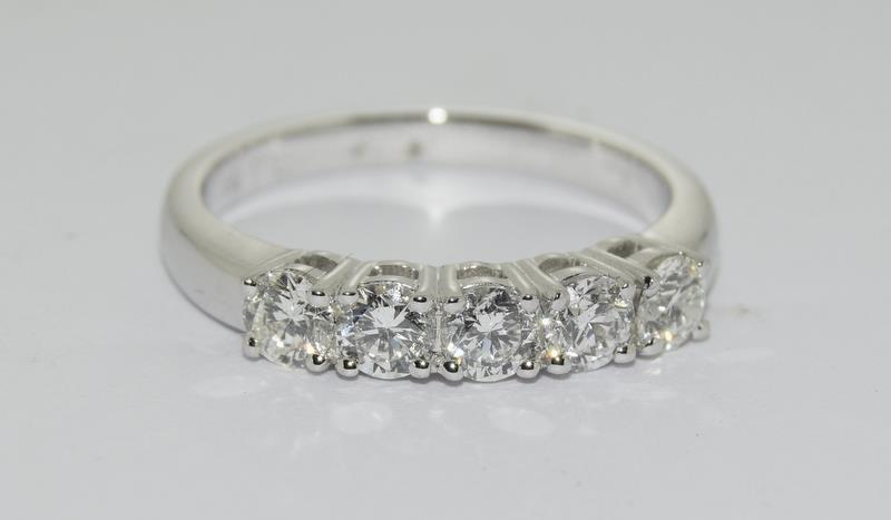 An 18ct white gold five stone diamond ring of 1.2cts. Size M - Image 6 of 6