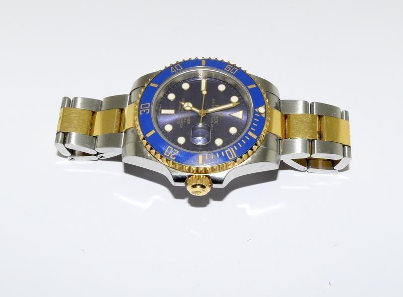 Rolex Submariner Blue Bi Metal 18ct Gold on Stainless Steel ceramic bezel gents wristwatch. No - Image 8 of 9