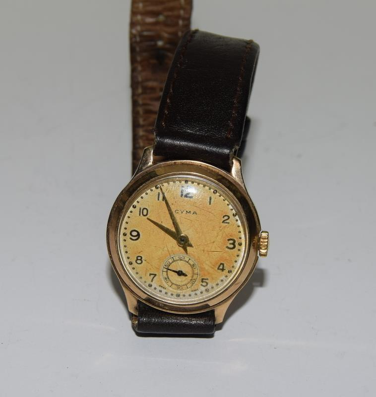 Cyma 1939 gents 9ct Gold wrist watch. - Image 7 of 8