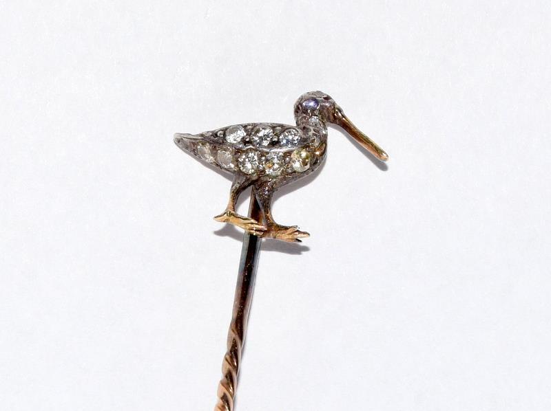 Antique gold and old cut diamond stick pin in the form of a Curlew bird - Image 4 of 7