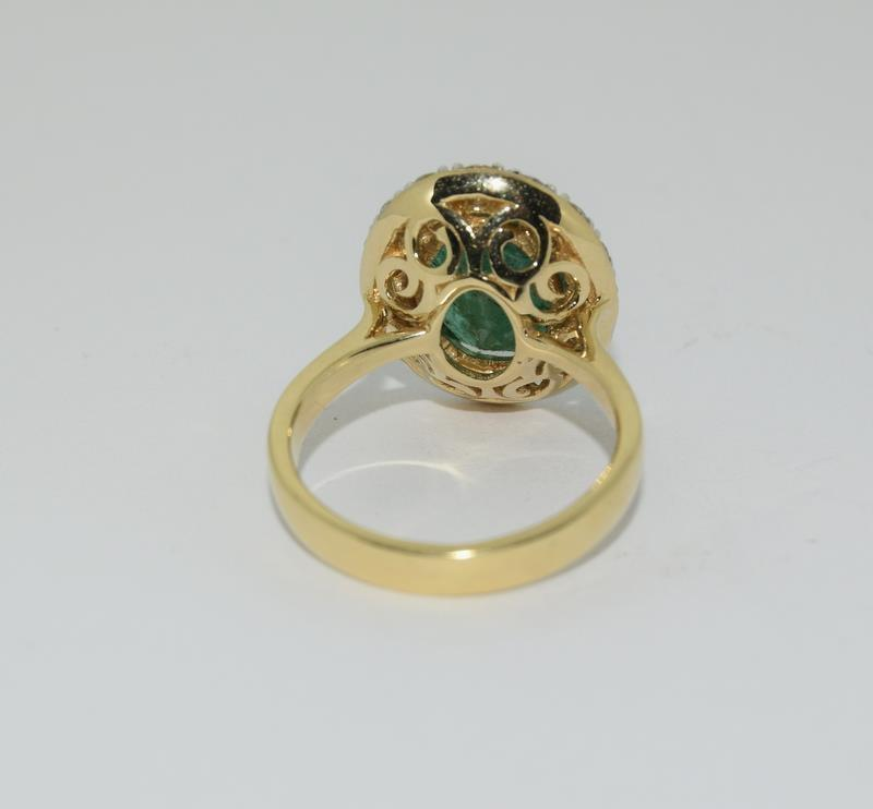 18ct gold Emerald and Diamond ring. Emerald approx 3.6ct and Diamond approx 1ct. - Image 3 of 6