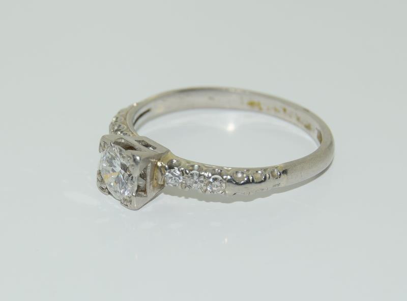 Ladies Platinum and Diamond Solitaire ring - 0.65. Size M. - Image 4 of 6