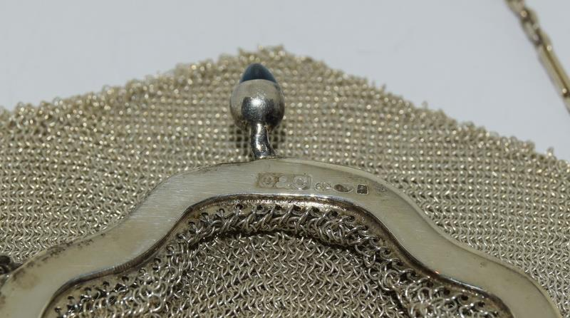 3 Silver Purses. One with Blue Cabuchon Clasp and Black Enamel Sides. One Early Import Mark, - Image 8 of 18