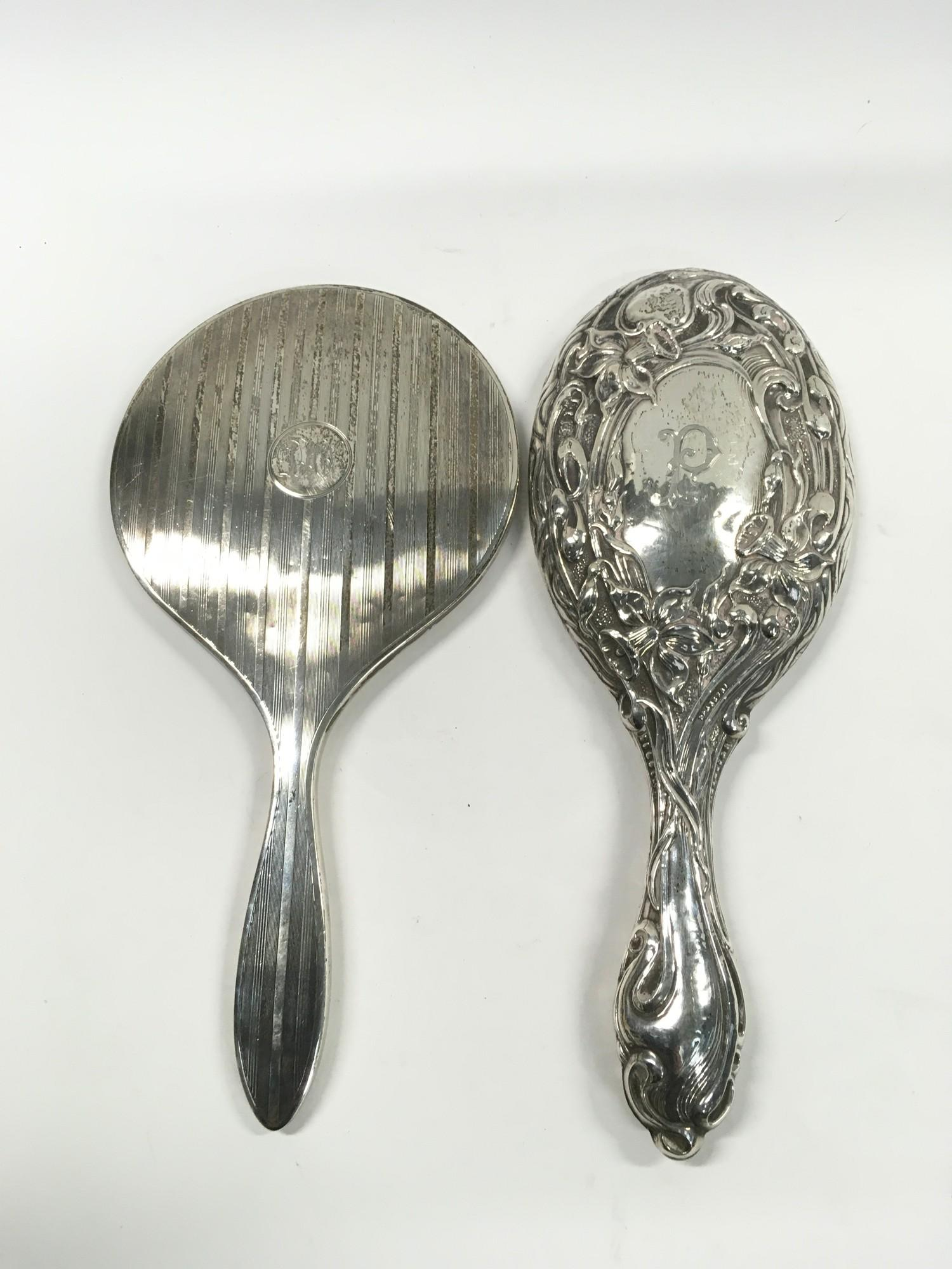 2 x Fully Hallmarked Silver Hand Mirrors, one Art Deco, the other Art Nouveau. - Image 2 of 3