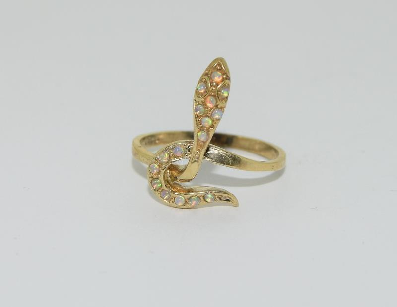 9ct Gold On Silver Opaline Snake ring.