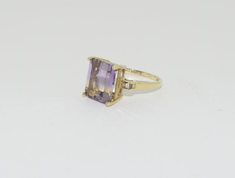 A yellow gold and diamond cocktail style ring with a four claw setting.Size N - Image 4 of 6