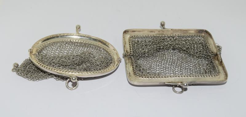 3 Silver Purses. One with Blue Cabuchon Clasp and Black Enamel Sides. One Early Import Mark, - Image 13 of 18