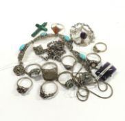 Collection of Silver Rings and Other Silver Jewellery to include Brooch, Necklaces & Bracelet.