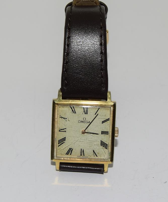 Omega Gold front gents manual wind wrist watch.