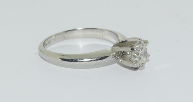 A Platinum set single stone ring of 65 points approx. Size L - Image 5 of 6