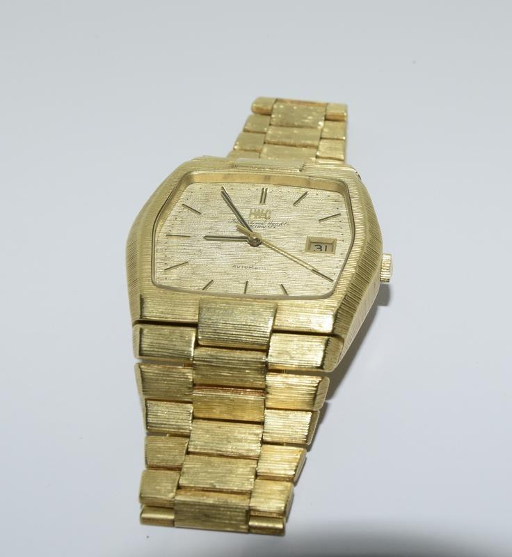 Gents 18ct gold IWC automatic wristwatch bark effect bracelet with gold dial,working order ,total - Image 7 of 8