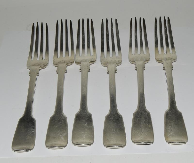 Six Silver hallmarked table dinner forks. 480 grams.