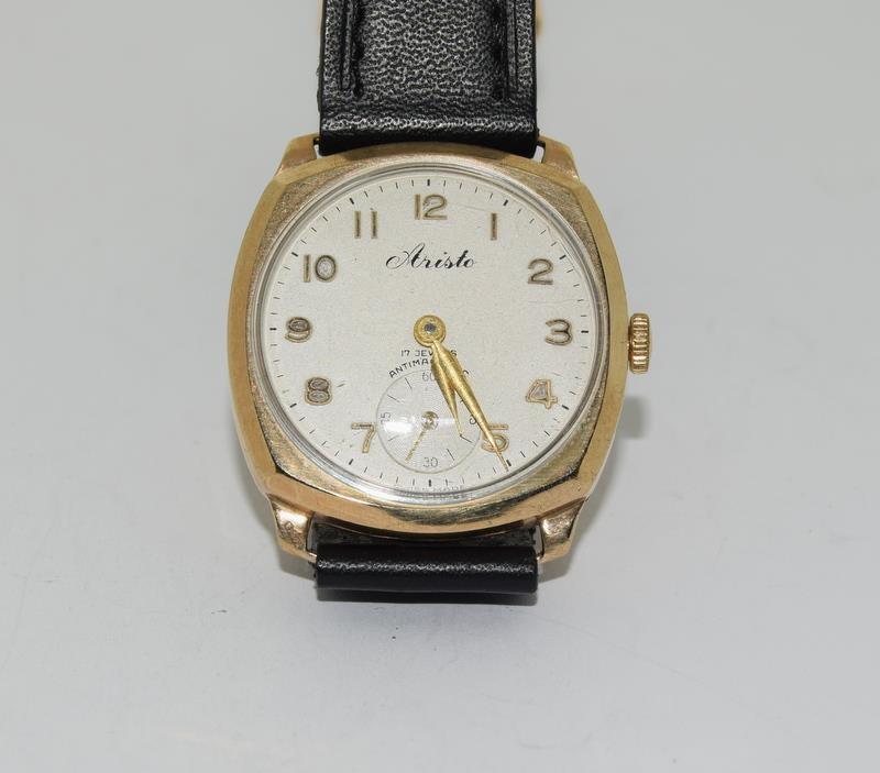 9ct Gold Atisto wrist watch of railway interest.