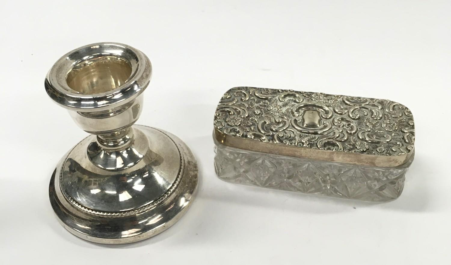 Silver Topped Ring Box - Hallmarked Birmingham 1903 and a Small Silver Candlestick.