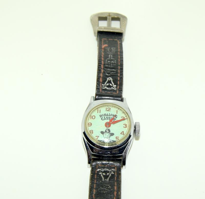"Timex Hop Along Cassidy manual wind 1950s original watch. Signed on the back ""Good Luck Hoppy "" - Image 5 of 5"