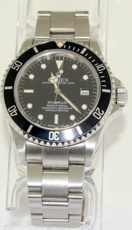 Rolex Sea Dweller gents wristwatch. Model No. 16600. Approx 1998 U39****. Very good condition.