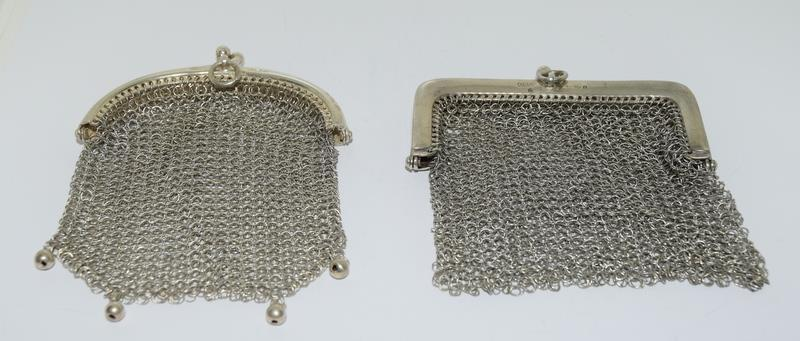 3 Silver Purses. One with Blue Cabuchon Clasp and Black Enamel Sides. One Early Import Mark, - Image 12 of 18
