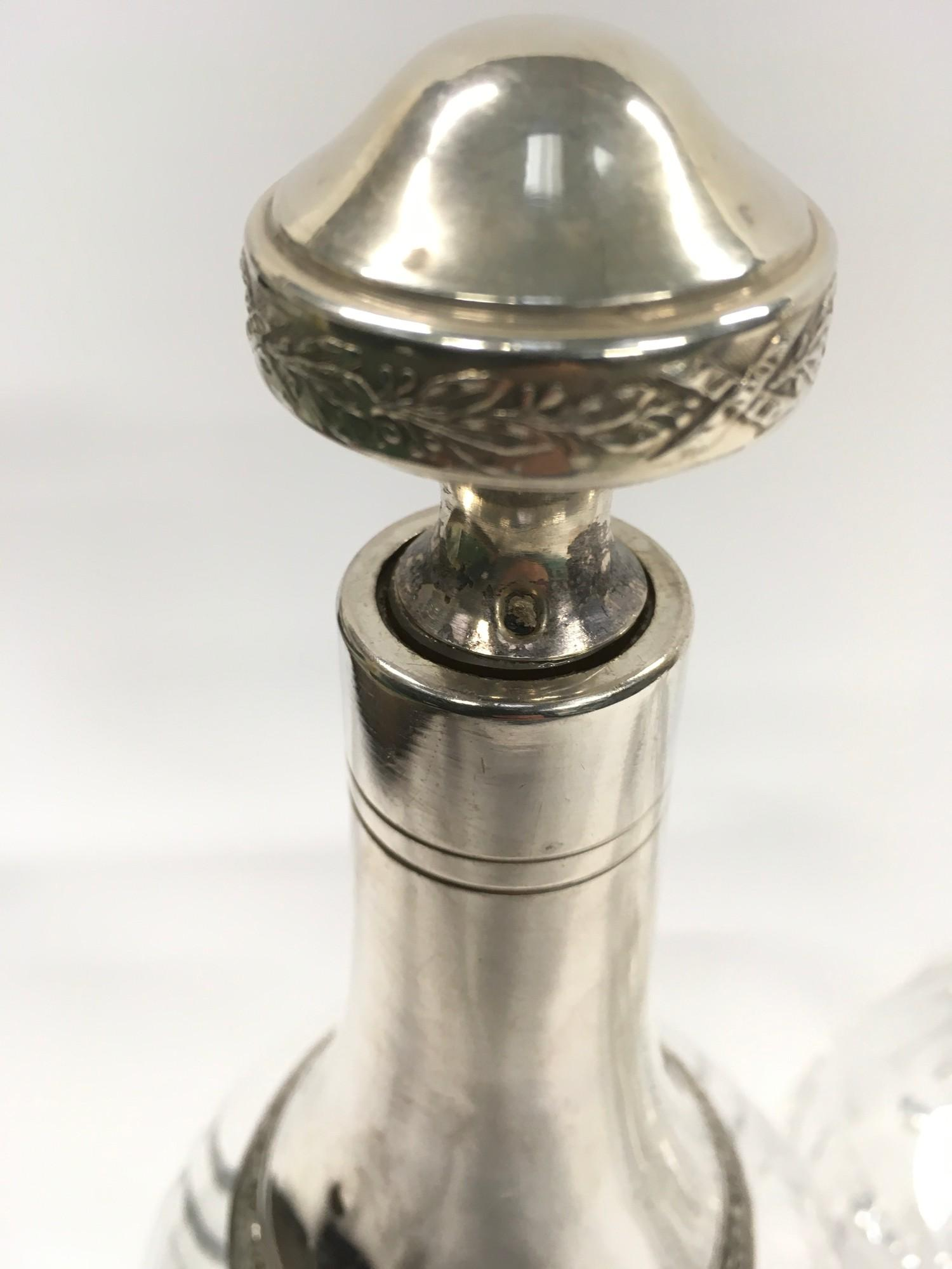 French Silver Mounted Decanter with Floral Enamel Decoration. - Image 2 of 2