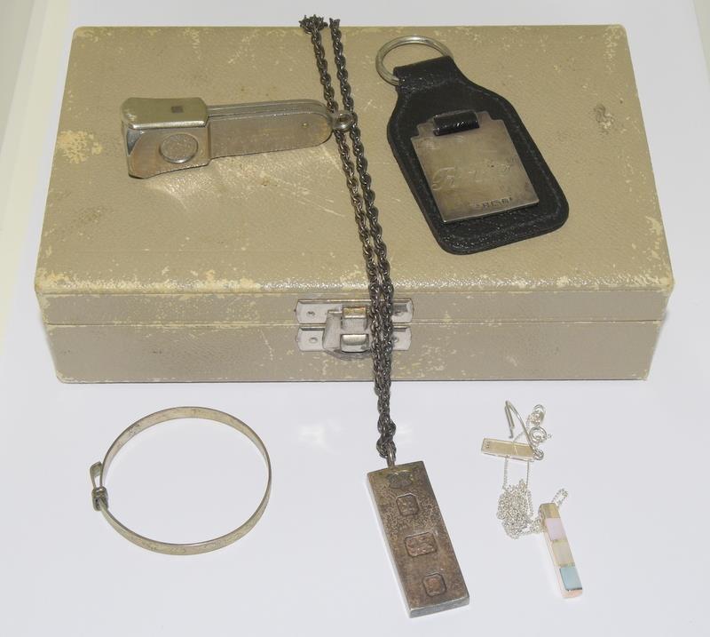 Misc Silver Items to include a Silver Key ring, Ingot & Chain, Bracelet, Earrings, Cigar Cutter