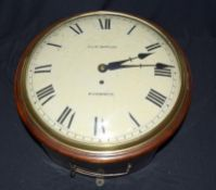 A Victorian Mahogany wall clock , fusee movement with a convex dial, by Walkers of Birmingham,