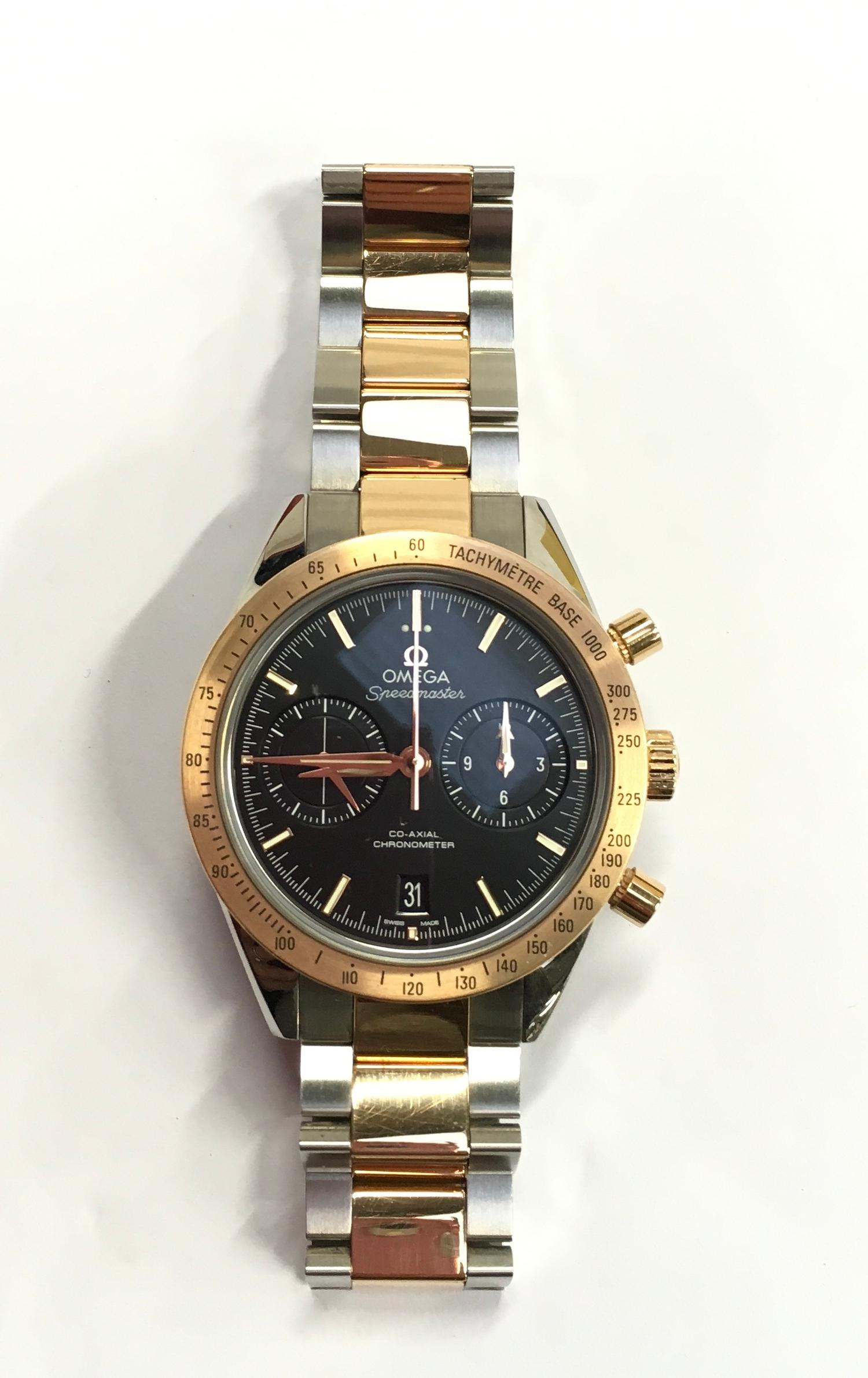Omega Rose Gold and Stainless Steel Speedmaster Wristwatch, co-axial movement. - Image 3 of 11