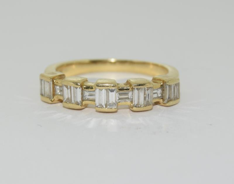 Baguette set Diamond ring - approx 0.75 points total, set in heavy 18ct Yellow Gold. Size O, Boxed. - Image 7 of 7
