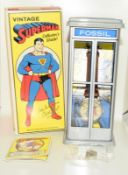 Vintage Superman Fossil Collectors watch. Complete with badge, papers and both boxes.