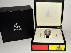 18ct Jacob & Co World Time Gents wristwatch, boxed.