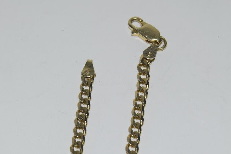 14ct Gold flat curb chain - 48 cm long with the Jubilee sovereign 1891 in a 9ct Gold mount. - Image 4 of 5