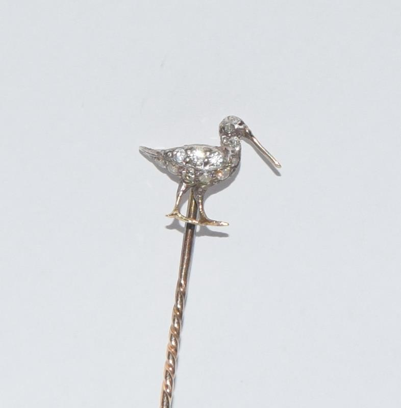 Antique gold and old cut diamond stick pin in the form of a Curlew bird - Image 2 of 7