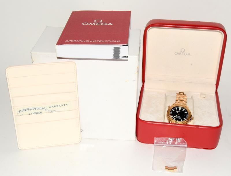 Rose Gold Omega Seamaster Wristwatch 300, Reference No. 2136500, boxed and papers.