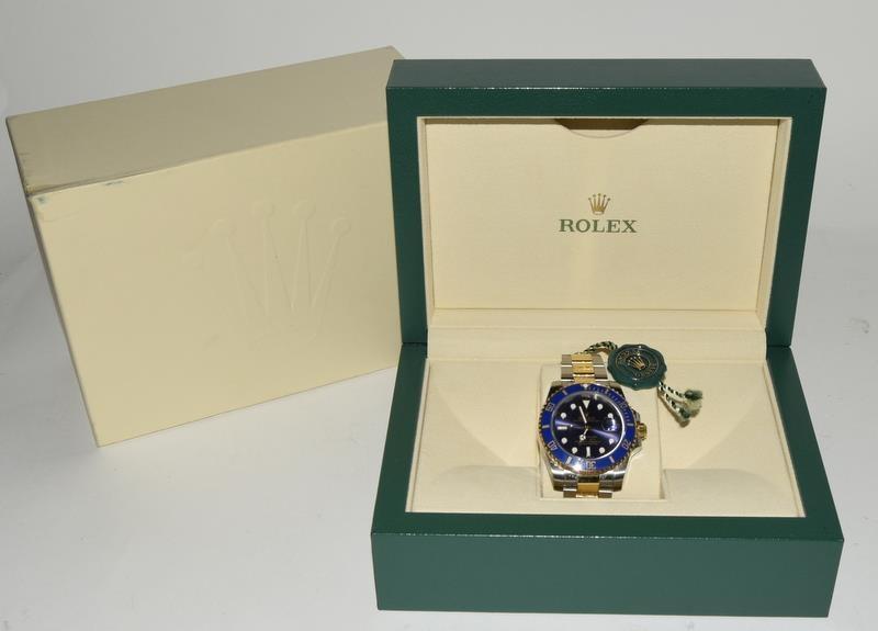 Rolex Submariner Blue Bi Metal 18ct Gold on Stainless Steel ceramic bezel gents wristwatch. No
