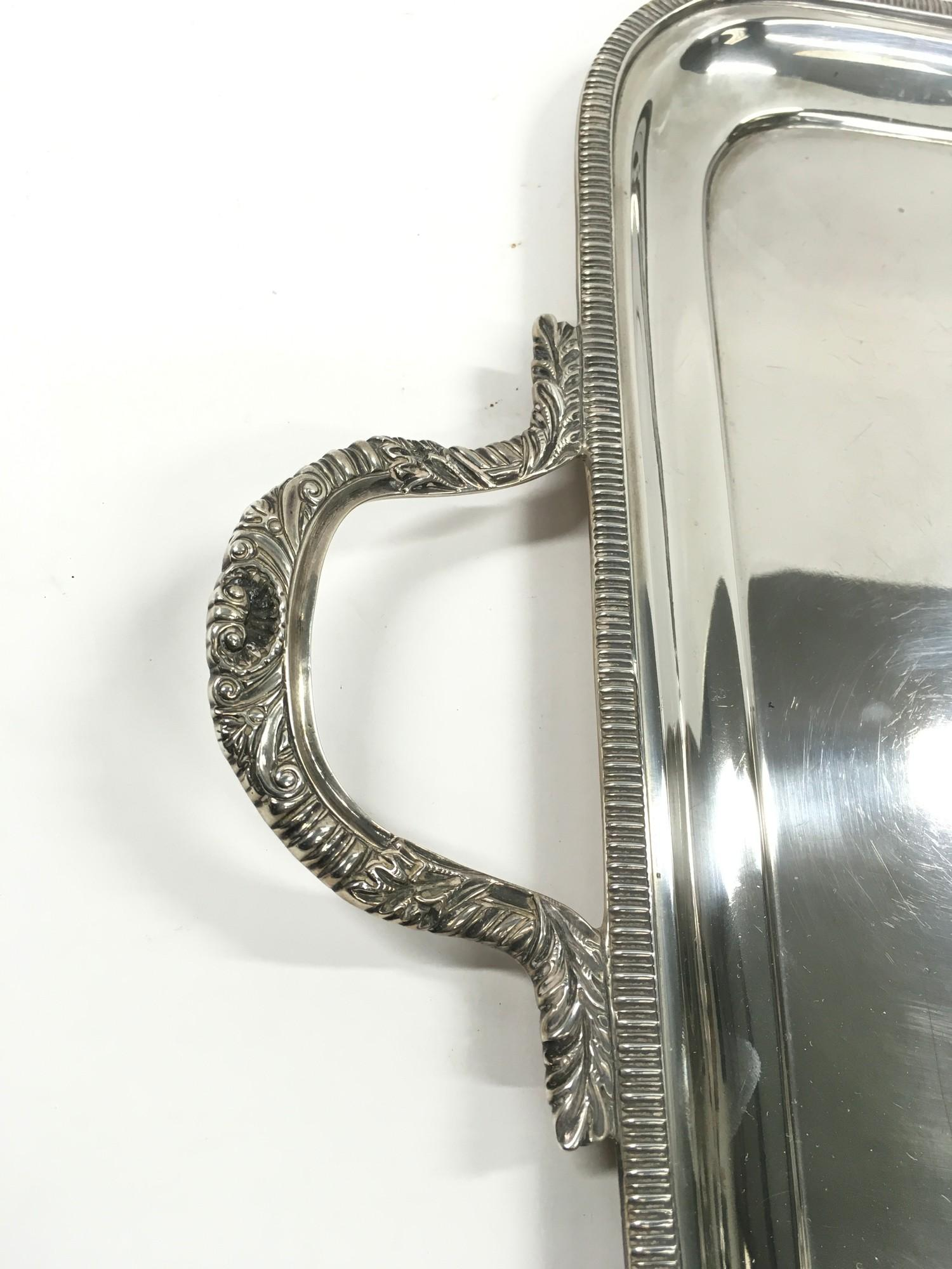 Large two handed Silver tray of approximately 2 kilos in weight. - Image 3 of 5