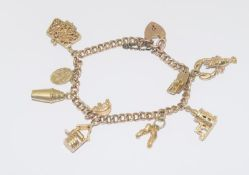 9ct Gold Charm Bracelet with 9 Charms