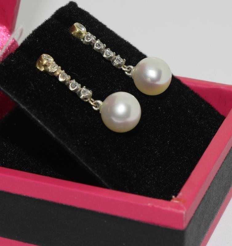 A pair of white gold diamond and cultured pearl drop earrings. - Image 2 of 2