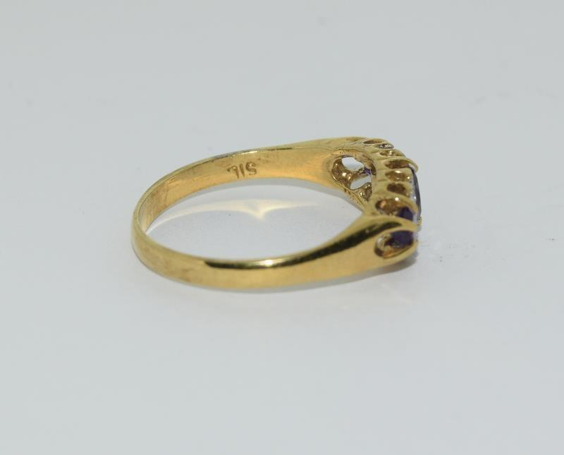 9ct Gold On Silver Amethyst ring. - Image 2 of 6