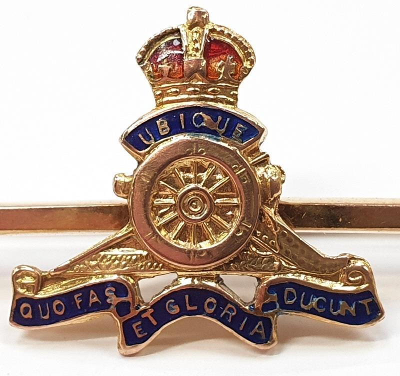 9ct gold Royal Artillery Sweetheart Brooch. - Image 2 of 4