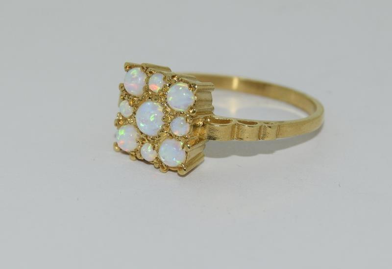 9ct Gold On Silver square Opaline ring. - Image 4 of 6