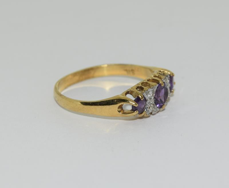 9ct Gold On Silver Amethyst ring. - Image 5 of 6