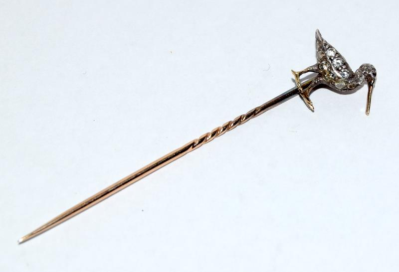Antique gold and old cut diamond stick pin in the form of a Curlew bird - Image 7 of 7