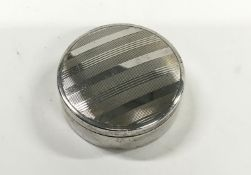 Silver Art Deco Engine Turned Circular Pill Box with Gilt Interior - Birmingham 1923.