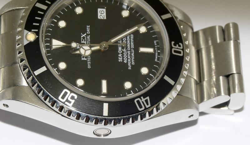 Rolex Sea Dweller gents wristwatch. Model No. 16600. Approx 1998 U39****. Very good condition. - Image 9 of 10