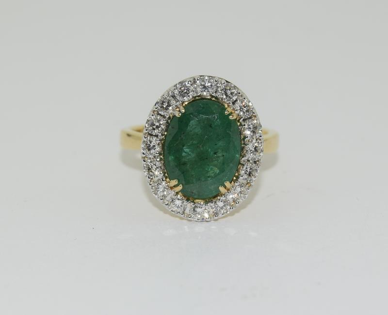 18ct gold Emerald and Diamond ring. Emerald approx 3.6ct and Diamond approx 1ct. - Image 6 of 6